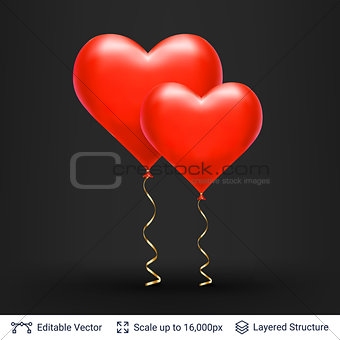 Pair of 3D Heart shaped air balloons.