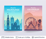 Milwaukee and Los Angeles famous city scapes.
