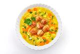 Meatballs in the potato soup.