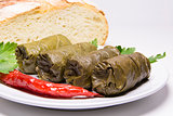 Grape leaves rolls. Sarmale, dolma, dolmades, sarma, golubtsy or