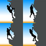 Black set silhouette rock climber on against the blue sky
