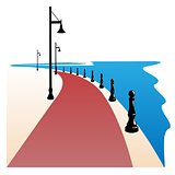 Seaside Boardwalk Vector illustration