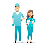 Doctor and nurse team. Cartoon medical staff. Medical team concept. Surgeon, nurse on hospital. Professional health workers. Flat characters isolated on white.