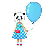 Little fashion panda girl dressed up in dress. Animal hipster bear in dress with balloon. Panda kid dressed in urban style