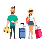 Travelling people waiting for airplane or train. Cartoon man and woman traveling together. Young cartoon couple go on vacation with suitcases and bags. Man holds Tickets and passports, girl holds backpack. Happy newlyweds leave on the sea resort.
