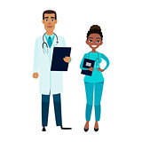 Cartoon african american doctor and nurse. Happy african male doctor with tablet and female assistant
