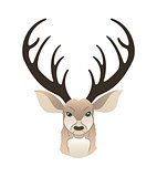 Fashion portrait of hipster deer. Reindeer dressed up in coat, furry art character, trand animals, anthropomorphism. illustration for t-shirt print, card.