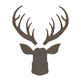 Reindeer with horns illustration. Deer hipster icon. Head deer silhouetted. Hand drawn stylized element design