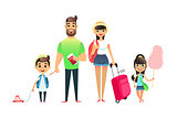 Travelling family people waiting for airplane or train. Cartoon dad, mom and child traveling together. Young cartoon couple, girl and boy go on vacation with suitcases and bags. Man holds tickets and passports. Happy big family leave on the sea resort.