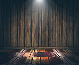 3D grunge wooden interior with spotlight shining down