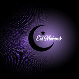 Eid Mubarak background with crescent on abstract polka dot backg