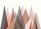 Abstract mountain landscape in Scandinavian style design