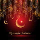 Ramadan Kareem backgroud with hanging crescents