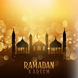 Ramadan kareem background with mosques on bokeh lights