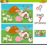 differences game for kids with farm animals