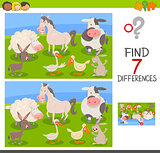 differences edu game with farm animals
