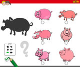 shadows activity game with pigs animals