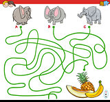 paths maze game with elephants and fruits