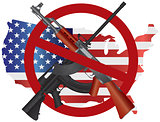 Assault Rifles Ban Symbol with USA Map Flag Illustration