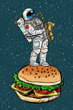 Astronaut plays saxophone on a Burger
