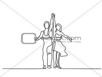 Couple man and woman dancing