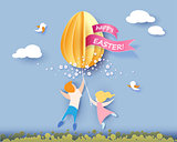Happy Easter card with kids, flowers and egg