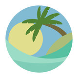 BEACH THEME. vector illustration of the wave, tropical island palm trees and the sun