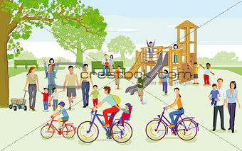 Families with children in the playground, illustration