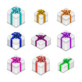 Set of gift boxes, vector illustration.