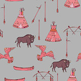 Seamless pattern with American Indian  sketches