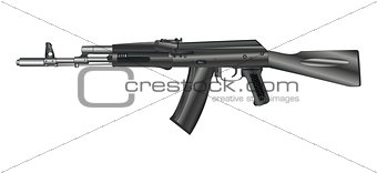 Automatic weapon, automatic gun, isolated on white background.