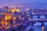 Evening over river Vltava near Charles bridge in Prague