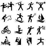 Sports, fitness, activity and exercise icon set