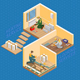 Isometric interior repairs concept. Vector flat 3d illustration.