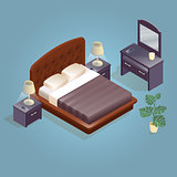 Isometric cartoon double king size beds isolated on blue.
