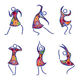 Set of six dancing female figures