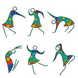 Set of six dancing female bodies