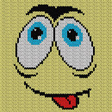 Knitted grimace with desire expression