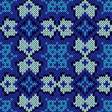 Seamless knitted blue ethnic pattern