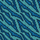 Seamless knitted blue camouflage pattern
