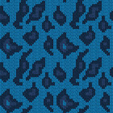 Seamless knitted dark blue camouflage pattern