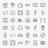 Cinema Movie Line Icons Set