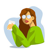 Vector creative cartoon illustration. Morning young woman drinks coffee at the office. Girl in glasses.