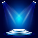 Stage or podium with spotlighting - award ceremony stage, blue p