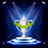 Illuminated sport cup on podium - winner award ceremony stage, p