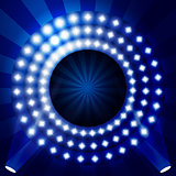 TV show backdrop with circles of lights - illuminated stage or p