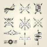 Set of coat of arms with bow arrows - emblems and blazons, heral