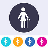 Vector pensioner woman sign icon