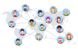 Vector world people network diagram