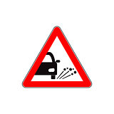 Ejection of gravel road sign flat illustration